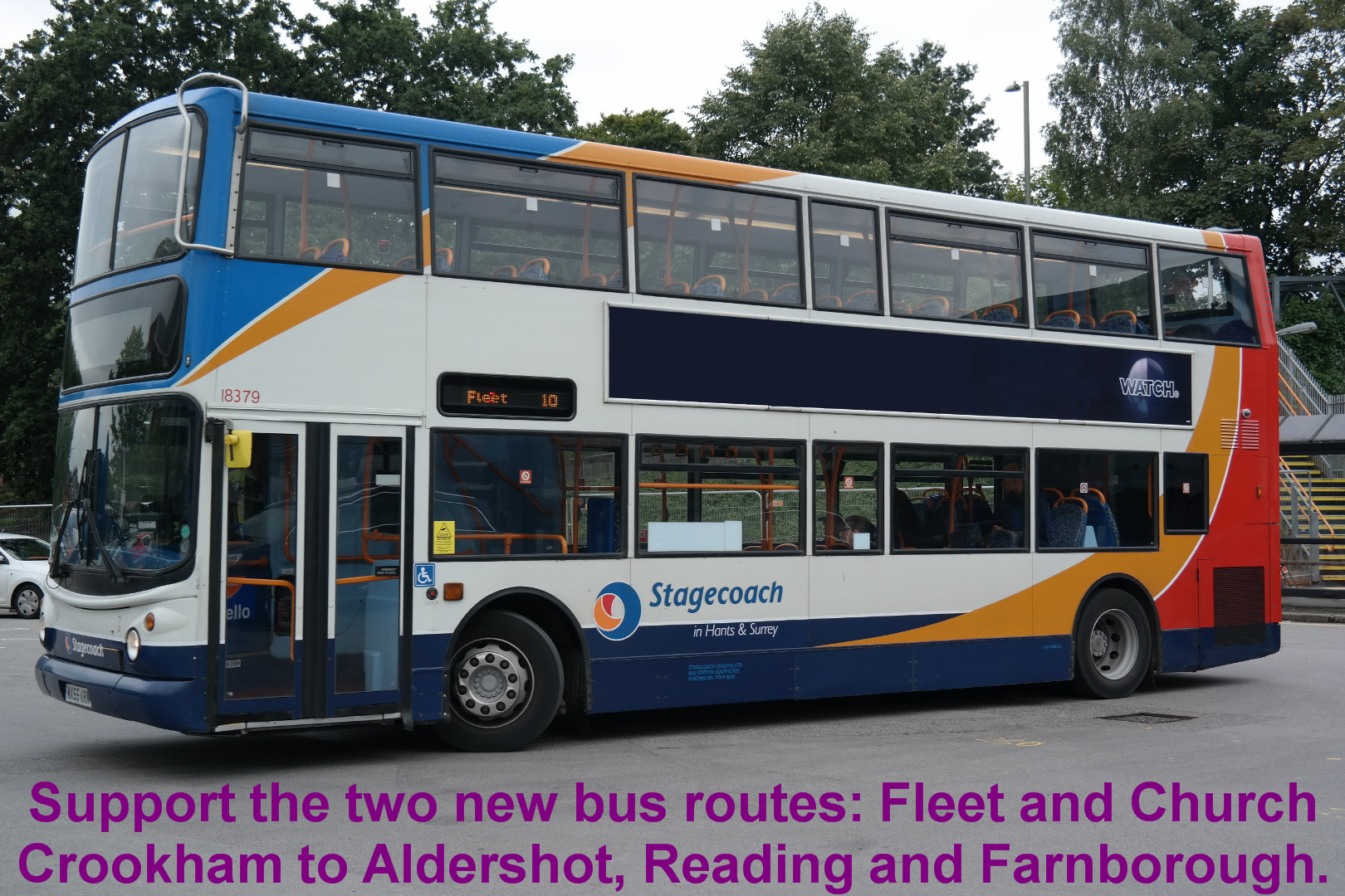 Support the two new bus routes: Fleet and Church Crookham to Aldershot, Reading and Farnborough.